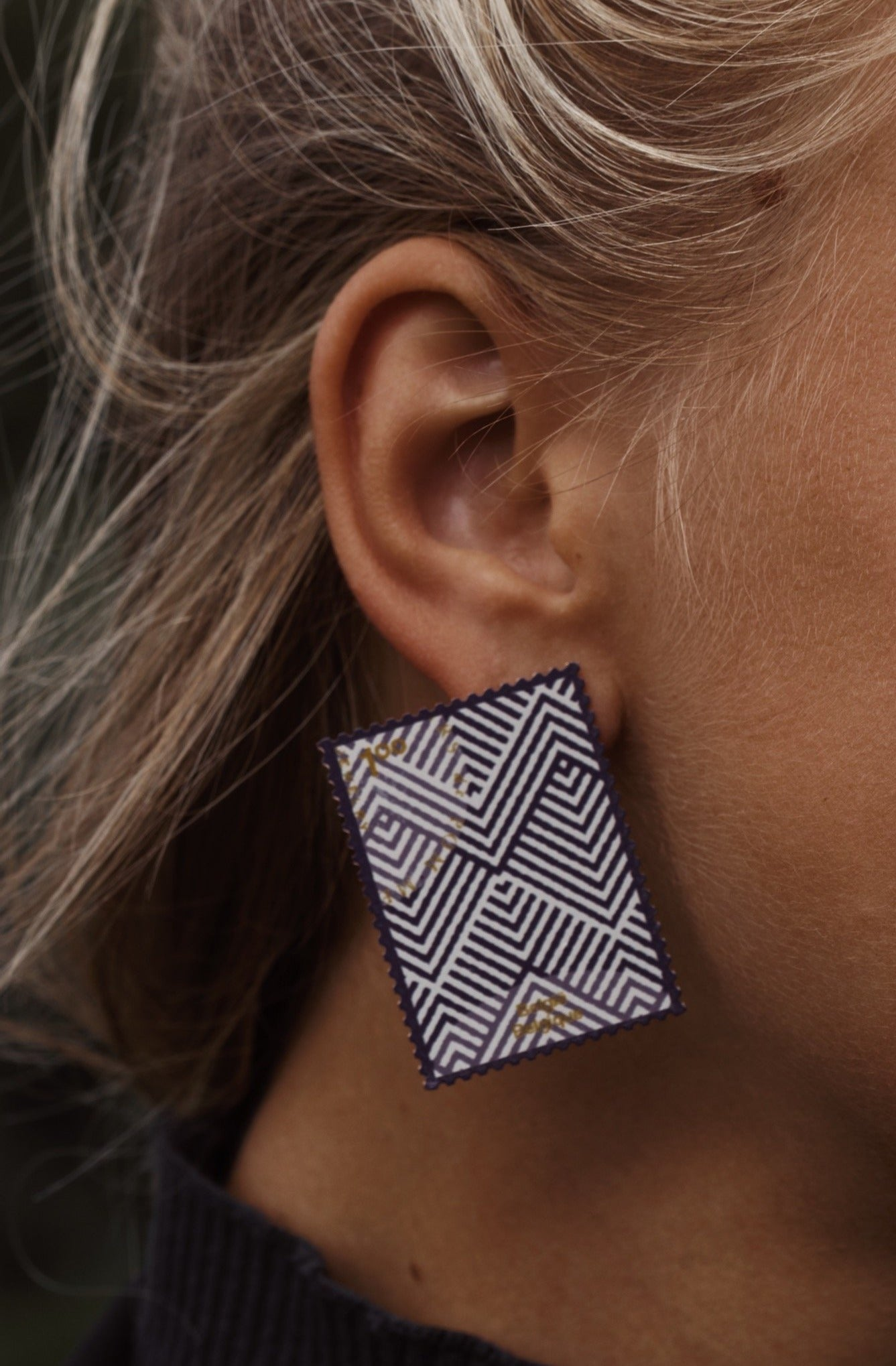 PRE-ORDER Memory stamp navy mix earrings