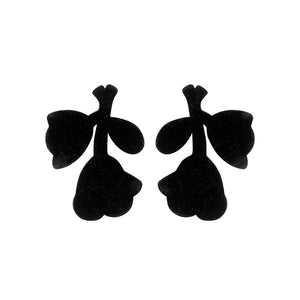 Megane statement  earrings black velvet - Souvenirs de Pomme