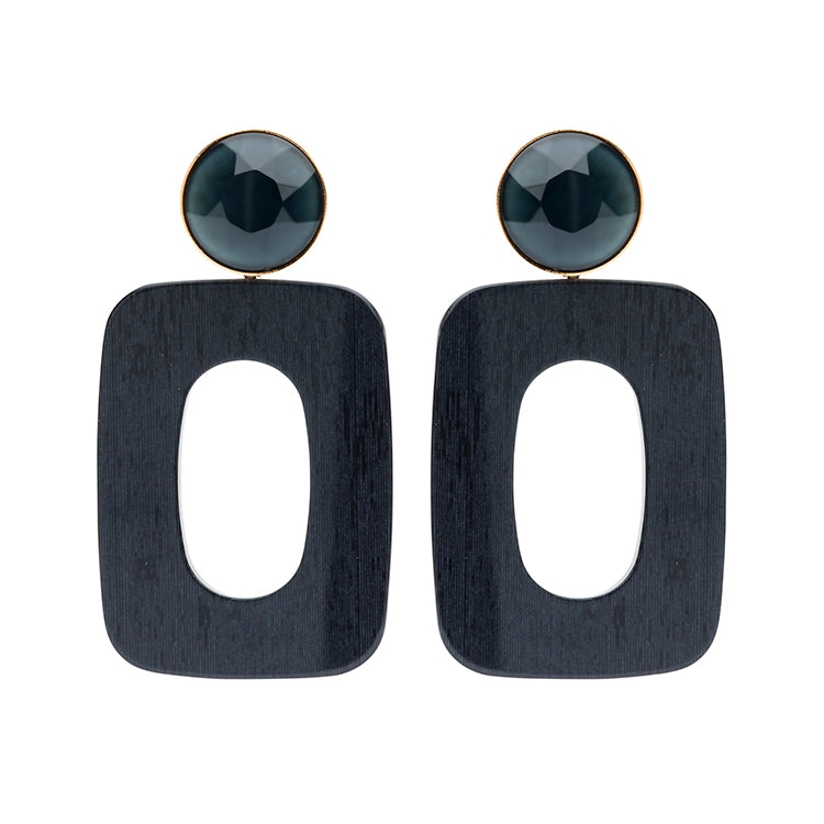 Mary large black navy earring