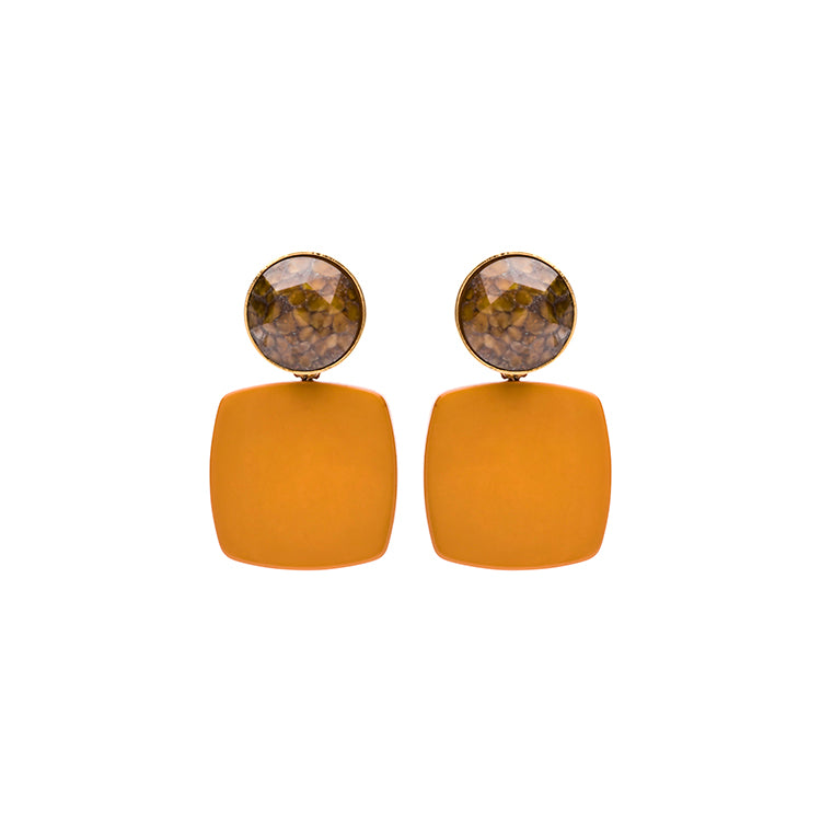 Olivia coffee/mustard earring