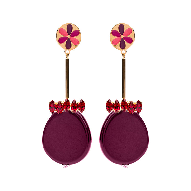 Peru enamel statement bordeaux earrings