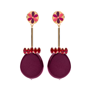 Peru enamel statement bordeaux earrings - Souvenirs de Pomme