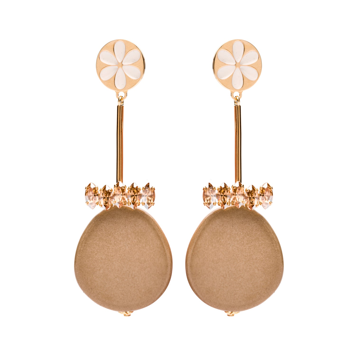 Peru enamel beige earrings - Souvenirs de Pomme