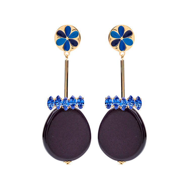 Peru enamel blue earrings