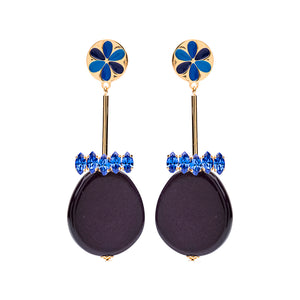 Peru enamel blue earrings - Souvenirs de Pomme
