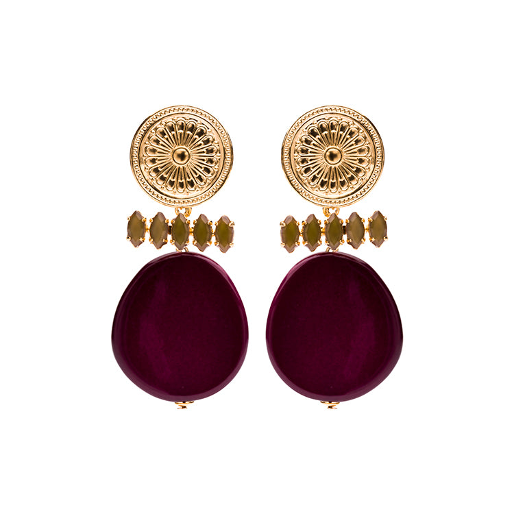 Lima Coin statement bordeaux earrings