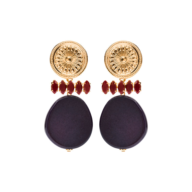 Lima Coin statement navy earrings