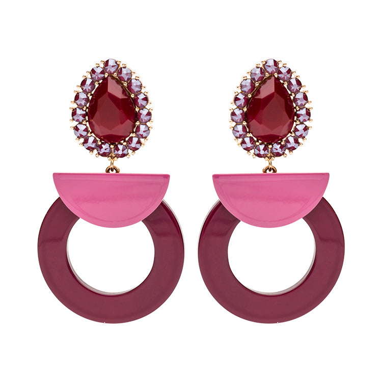 Chloe statement bordeaux earrings
