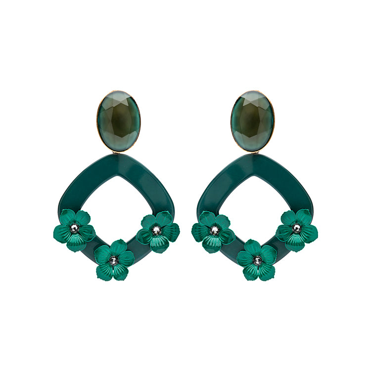 Lucia statement green earrings