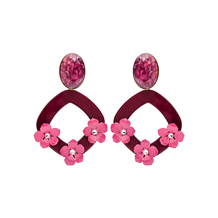 Lucia statement marsala earrings