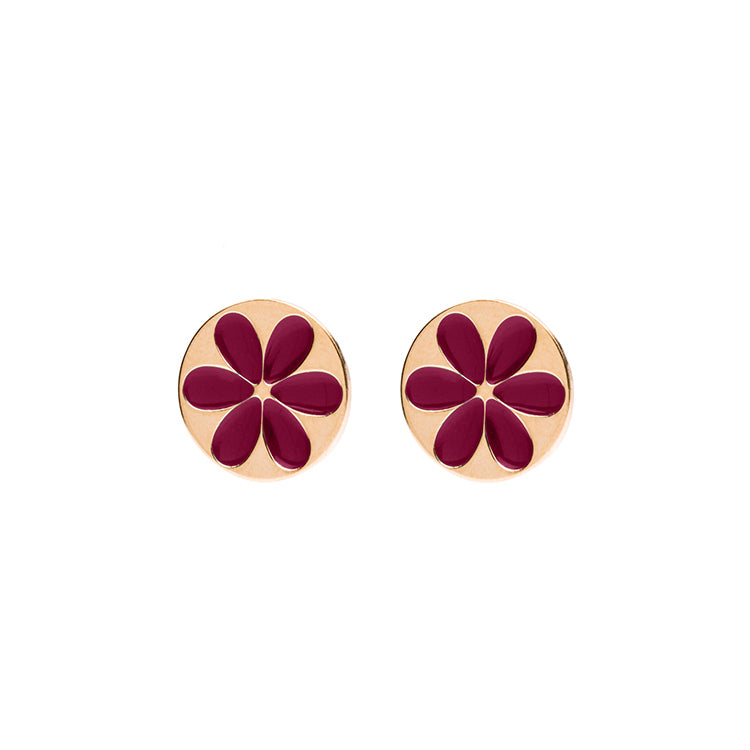 Flower shortie enamel cherry earring