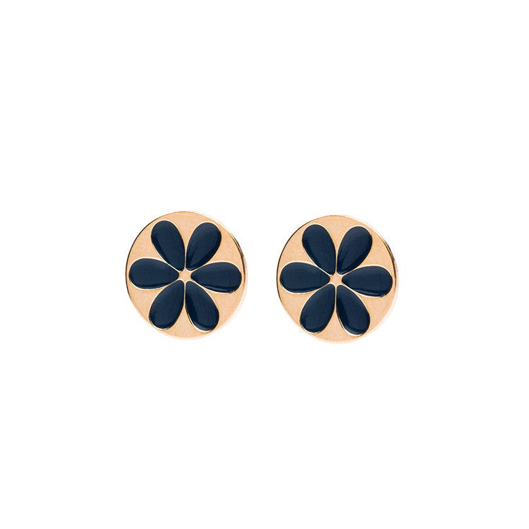 Flower shortie enamel navy earring