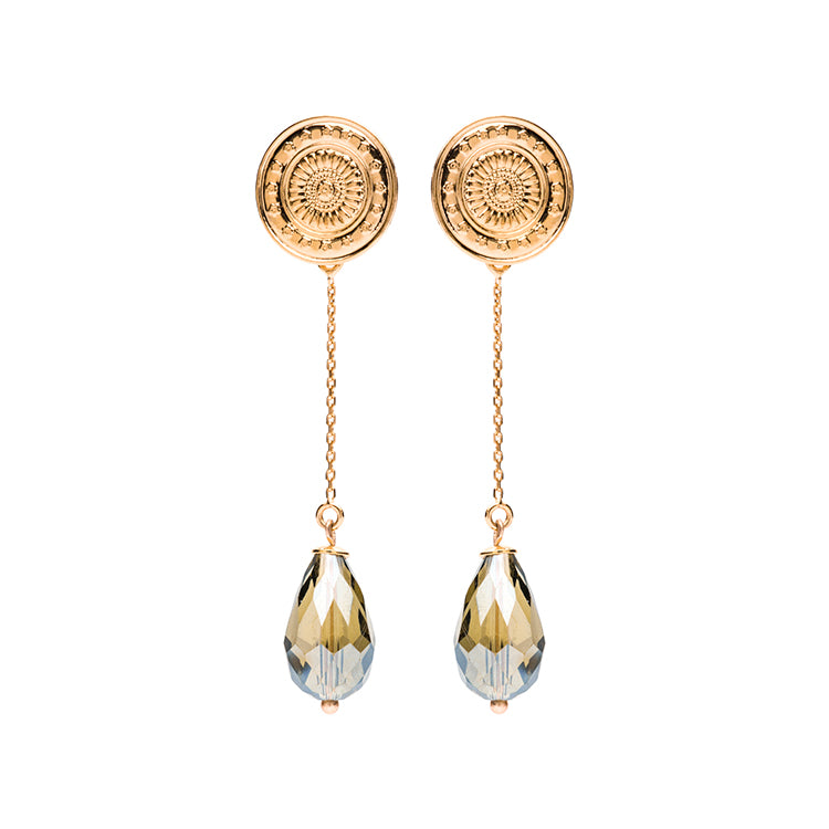 Coin gold long antra earring