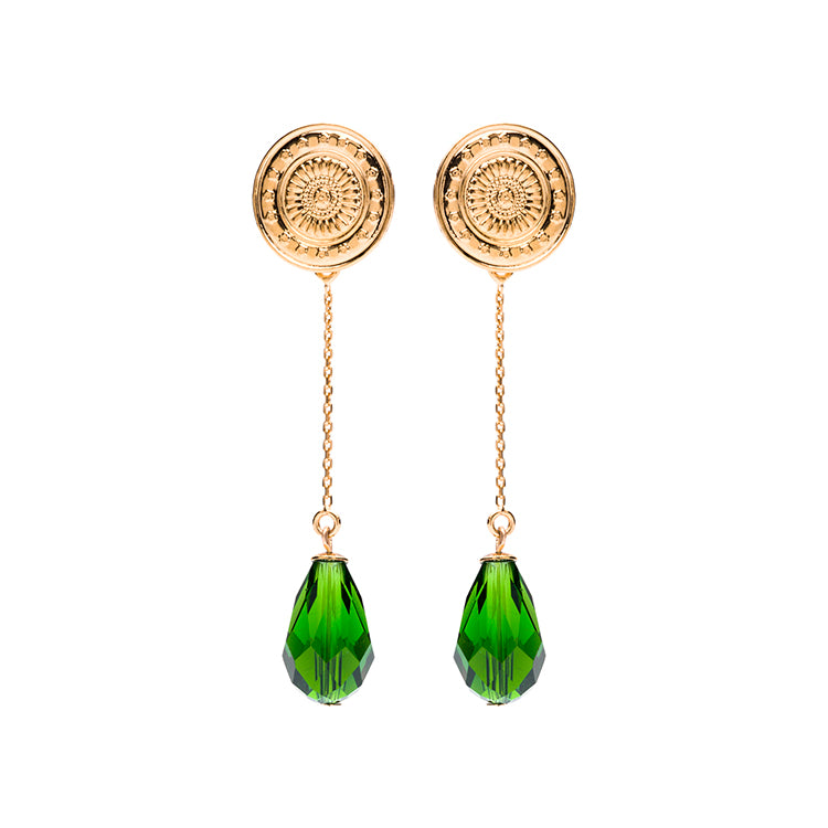 Coin gold long green earring