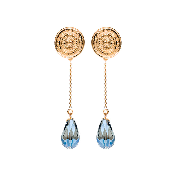 Coin gold long blue earring