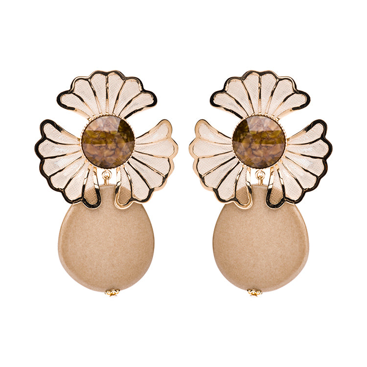 Mia statement earrings beige - Souvenirs de Pomme