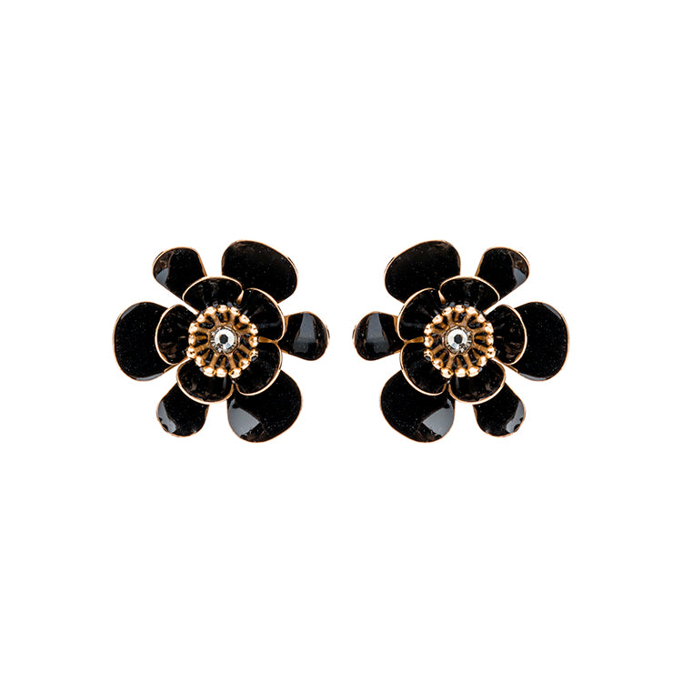 Gina shortie large black earrings