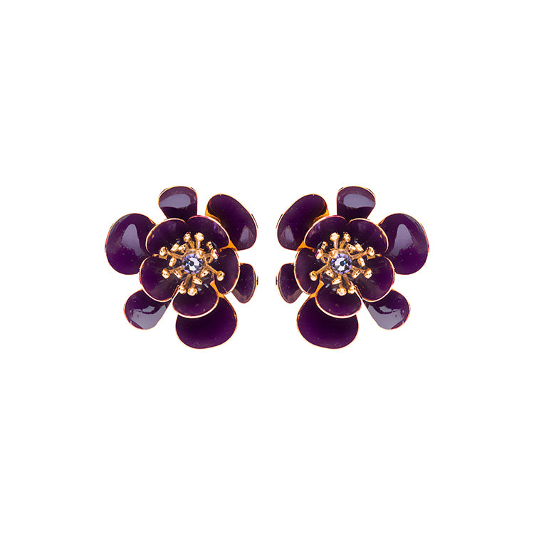 Gina shortie large amethyst earrings - Souvenirs de Pomme