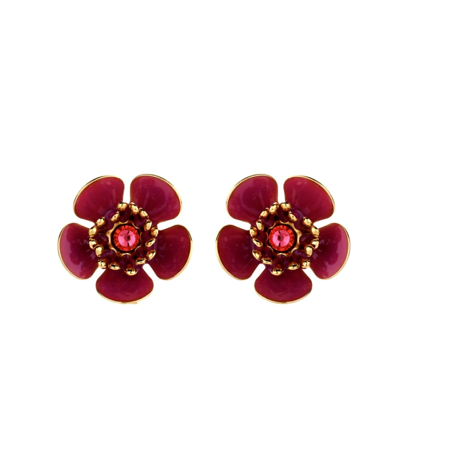 Gina mini enamel flower fraise earrings - Souvenirs de Pomme