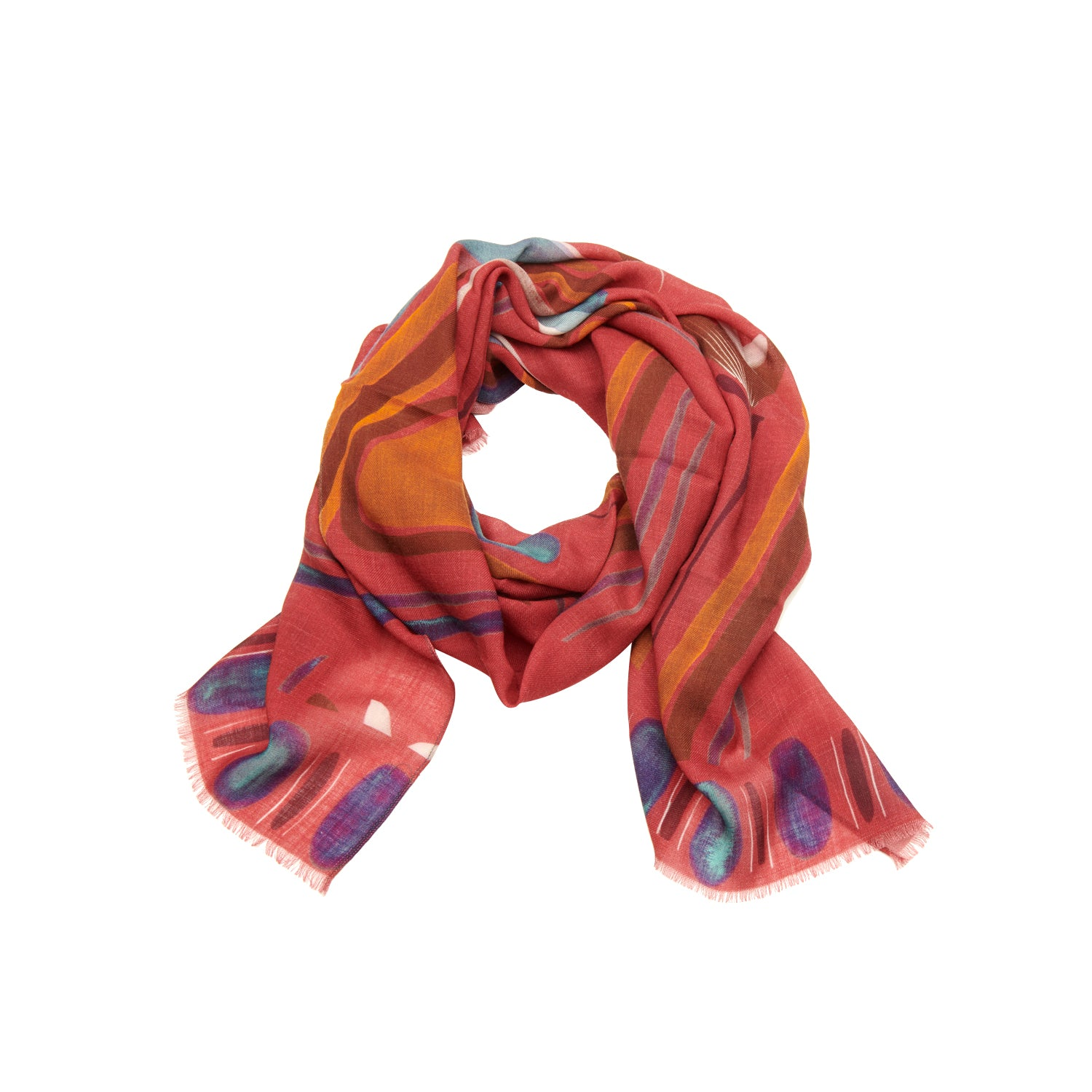 Scarf twill wool bordeaux mix