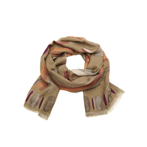 Scarf twill wool khaki mix