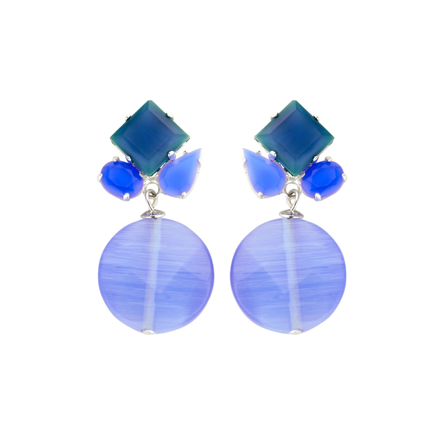 Square mix navy earrings