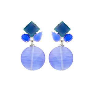 Square mix navy earrings - Souvenirs de Pomme