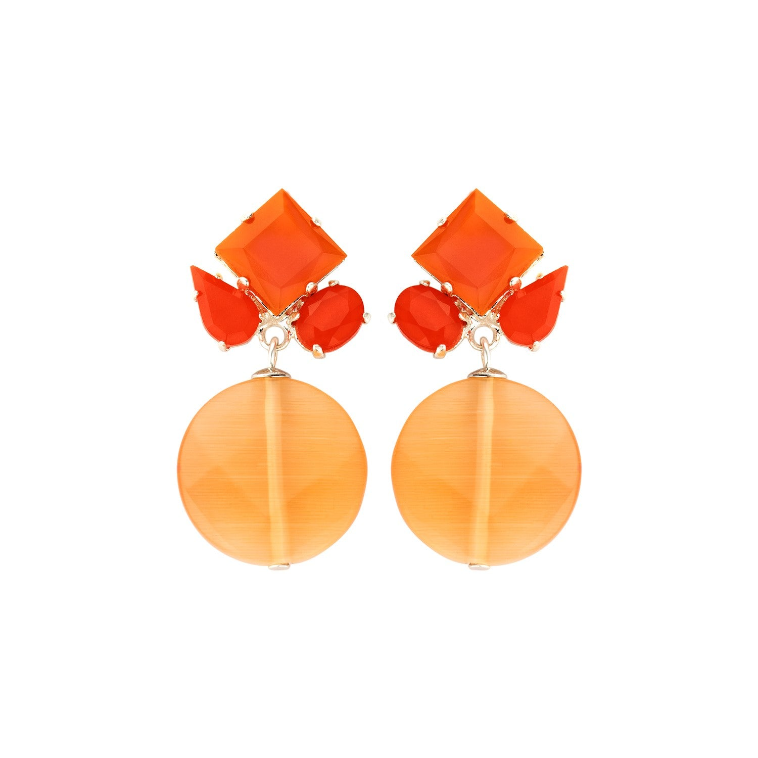 Square mix orange earrings - Souvenirs de Pomme