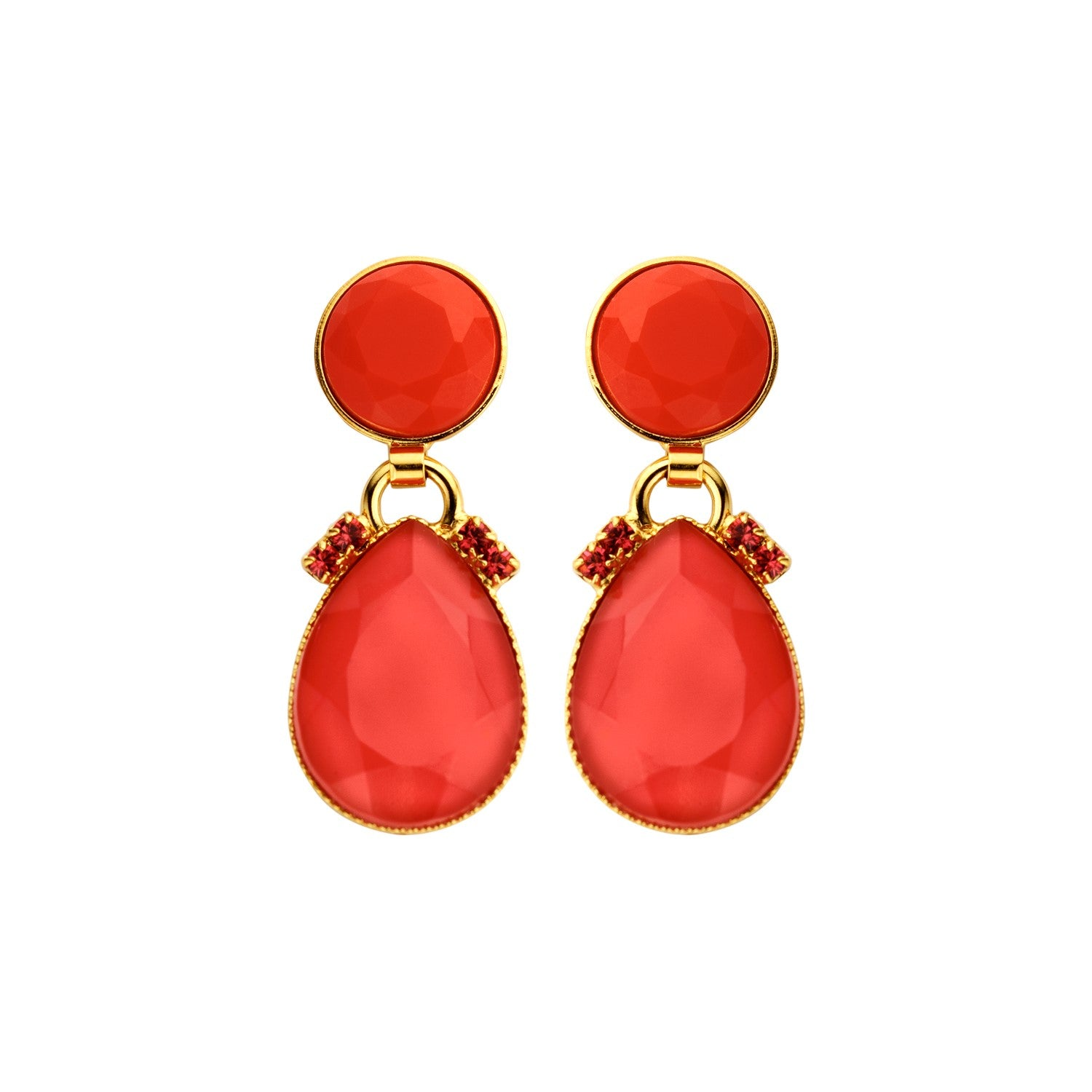 Mini 2drops red earrings - Souvenirs de Pomme