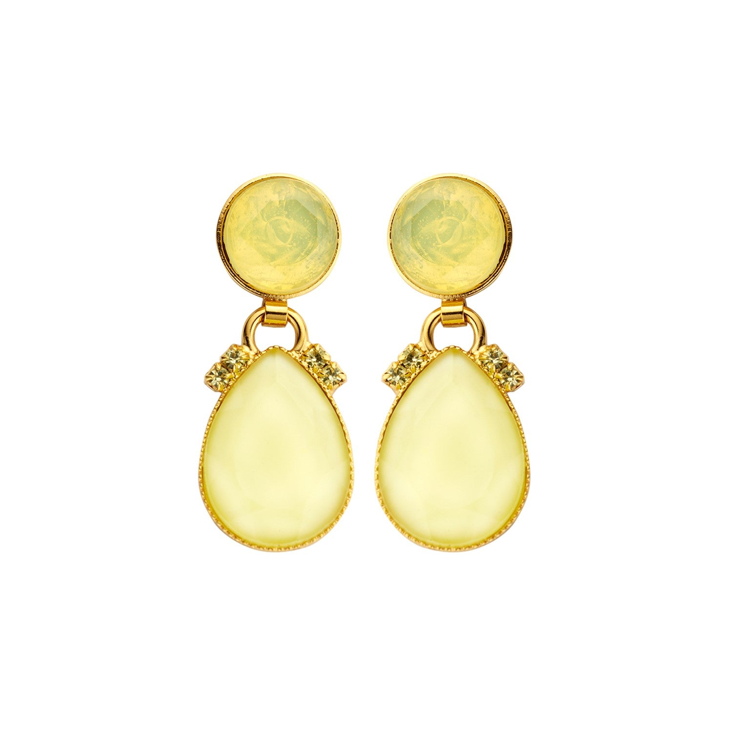 Mini 2drops yellow earrings - Souvenirs de Pomme