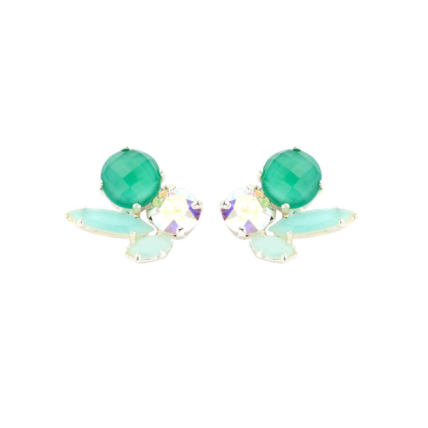 Cleo short green earrings