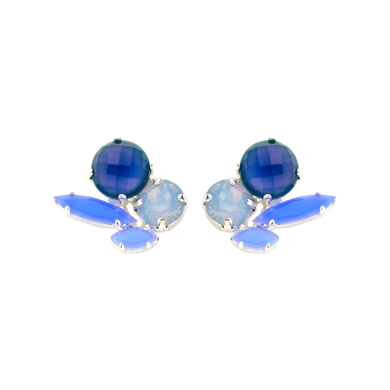 Cleo short grey blue earrings - Souvenirs de Pomme