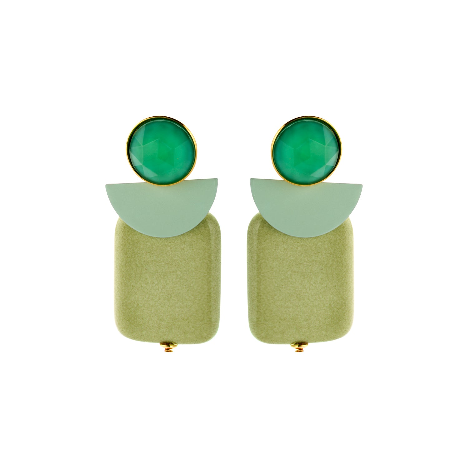 Attina moon eucalyptus earrings - Souvenirs de Pomme