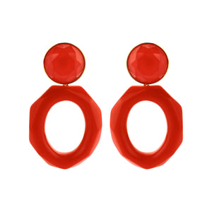 Mary facet large red earrings - Souvenirs de Pomme