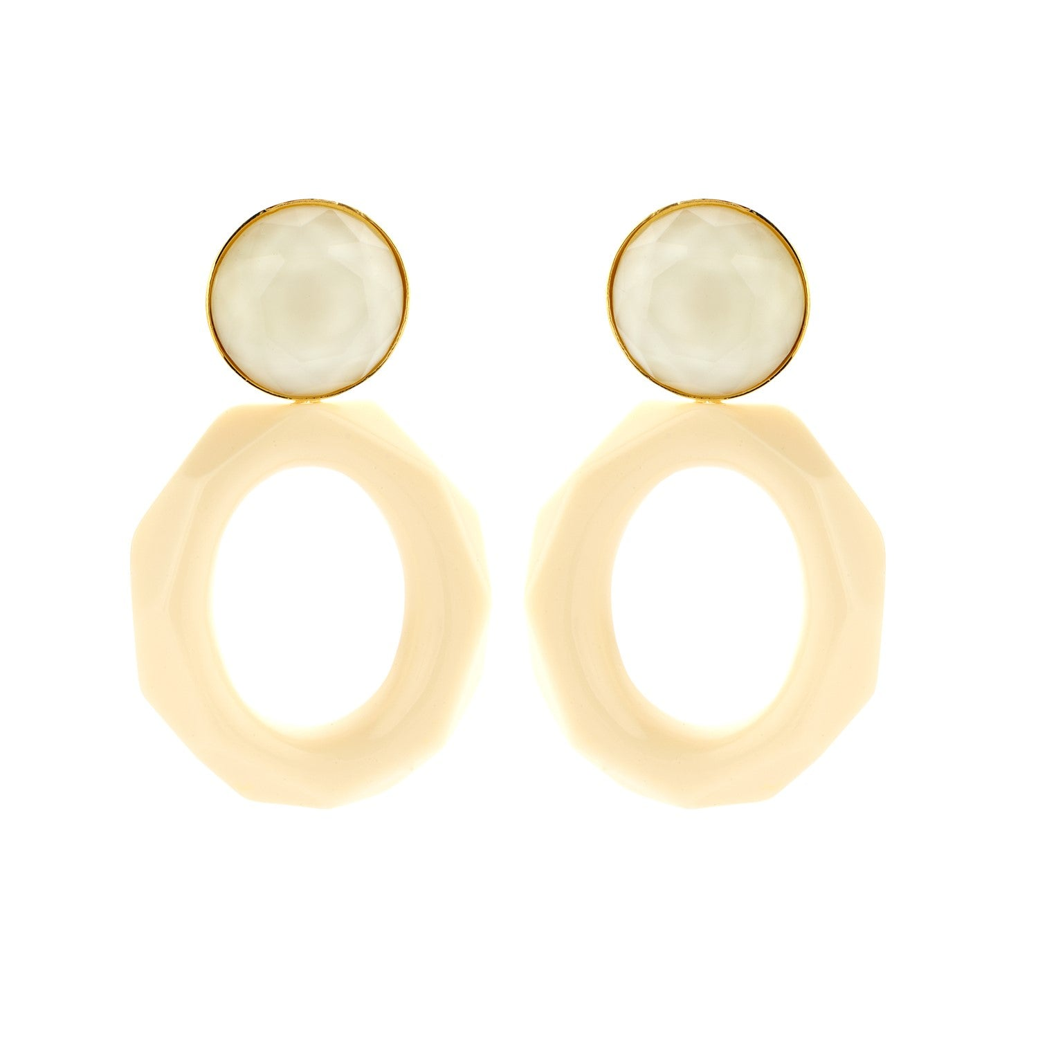 Mary facet large ivory earrings