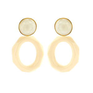 Mary facet large ivory earrings - Souvenirs de Pomme