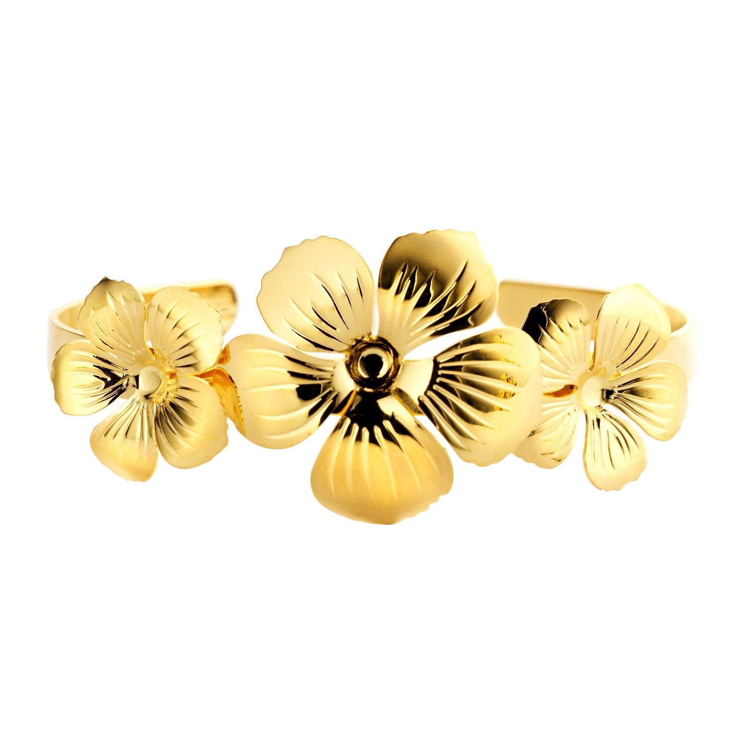 PRE-ORDER Floral cuff gold earrings