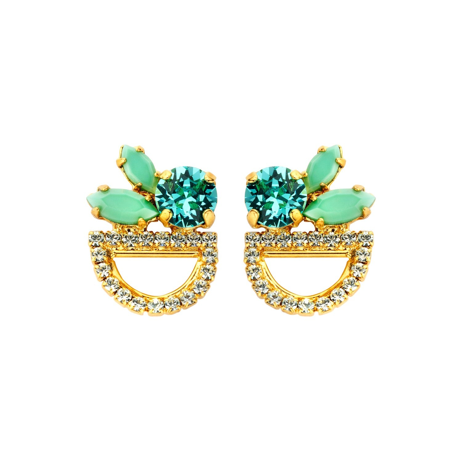 Moon shortie mint earrings