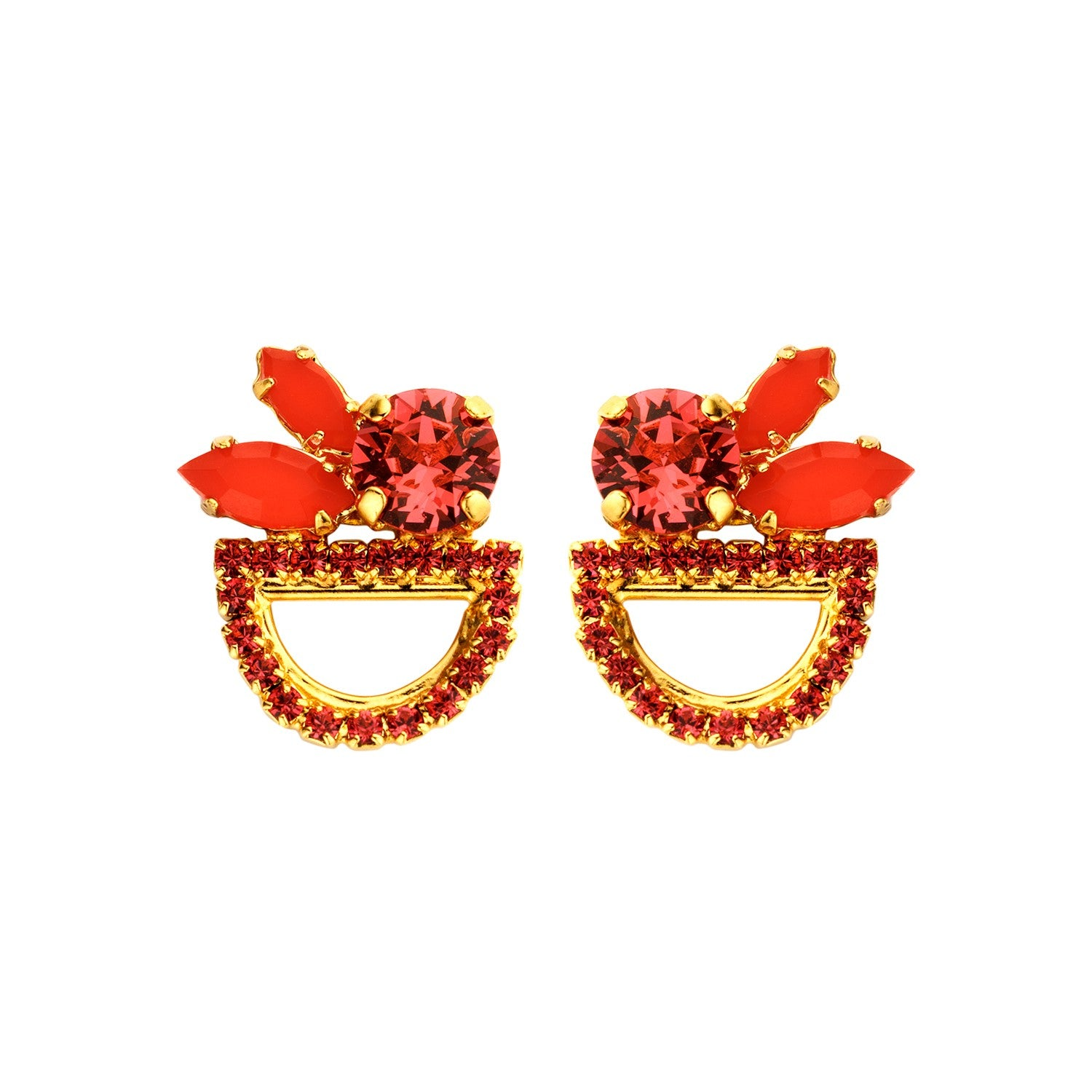 Moon shortie red earrings - Souvenirs de Pomme