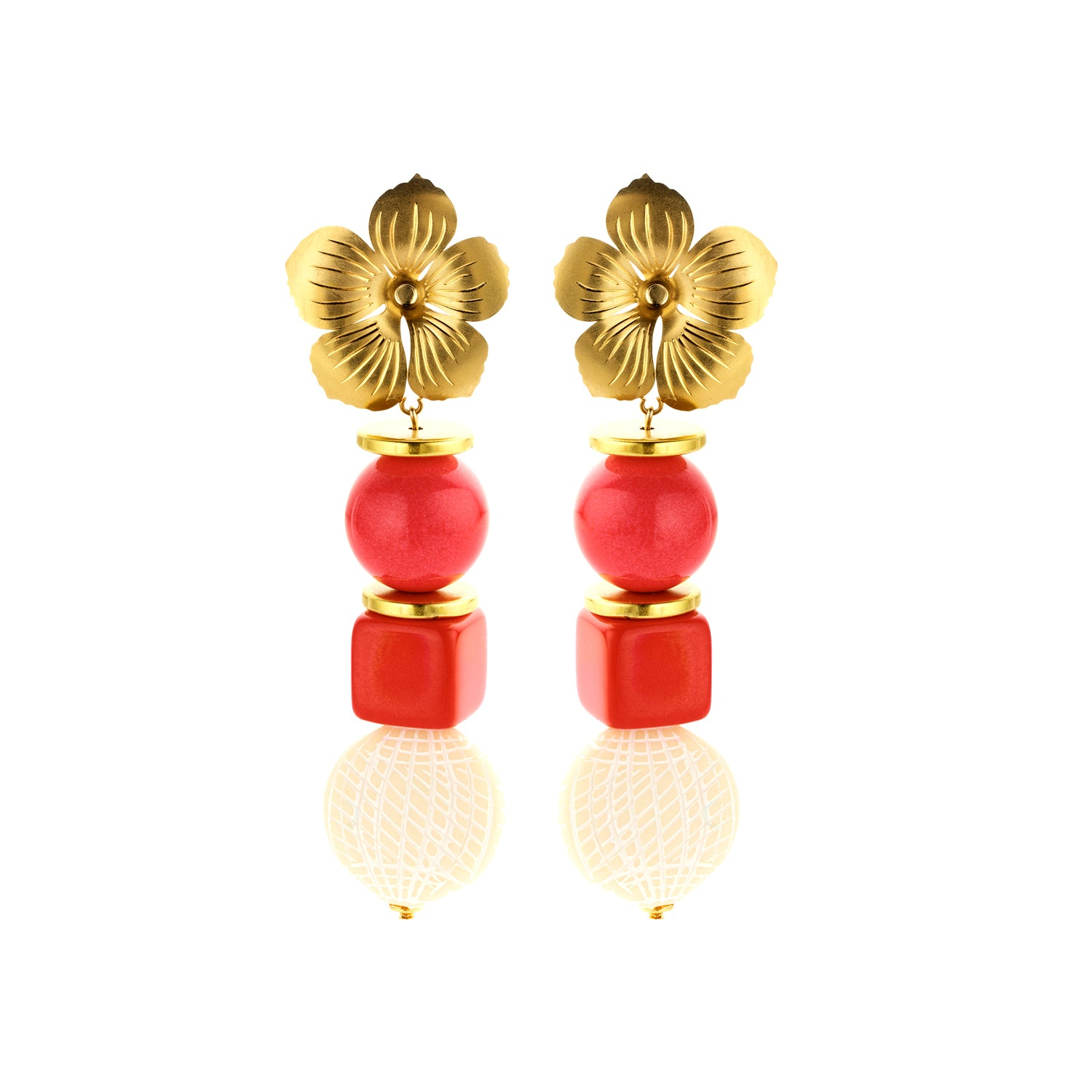Floral coral red earrings