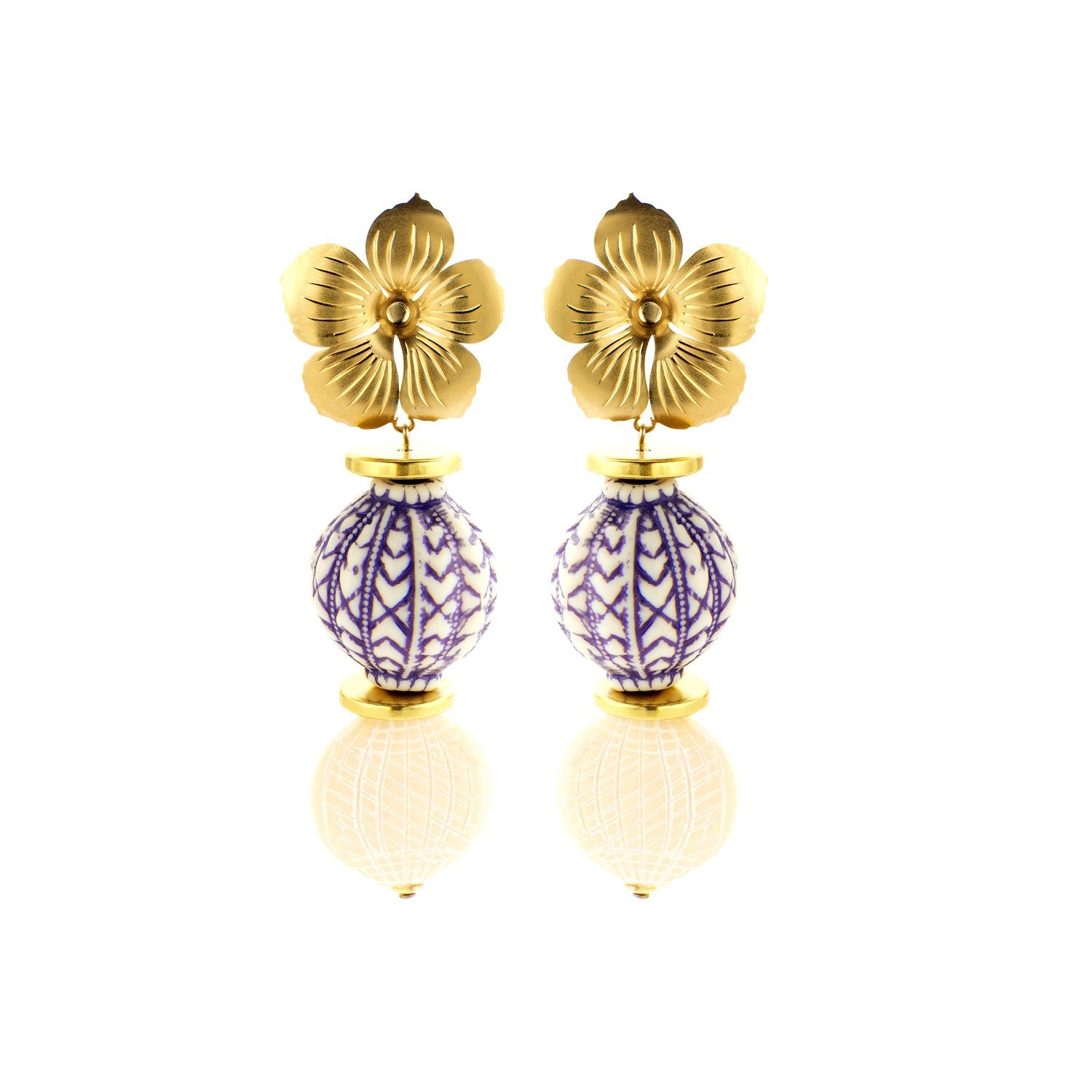 Floral greek blue earrings - Souvenirs de Pomme