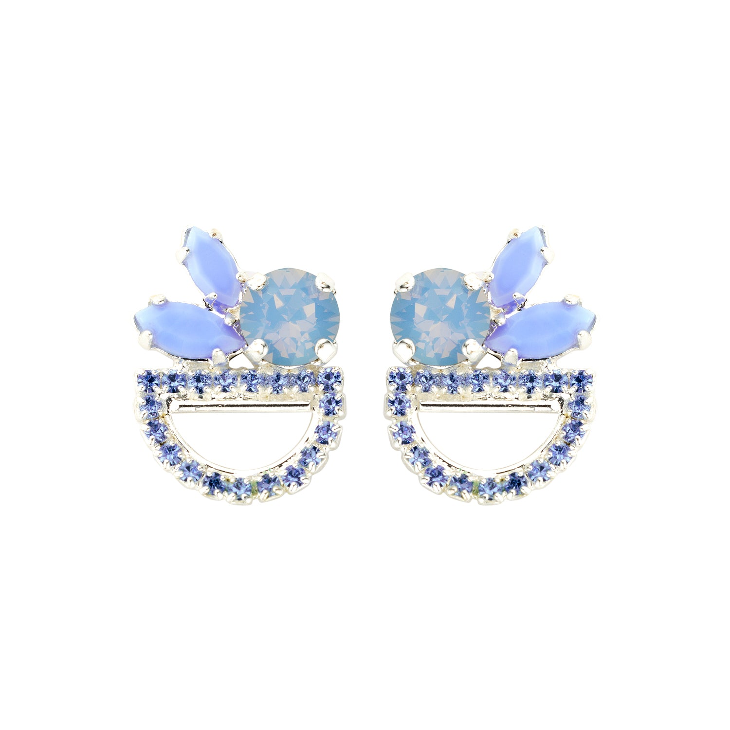 Moon shortie light blue earrings - Souvenirs de Pomme