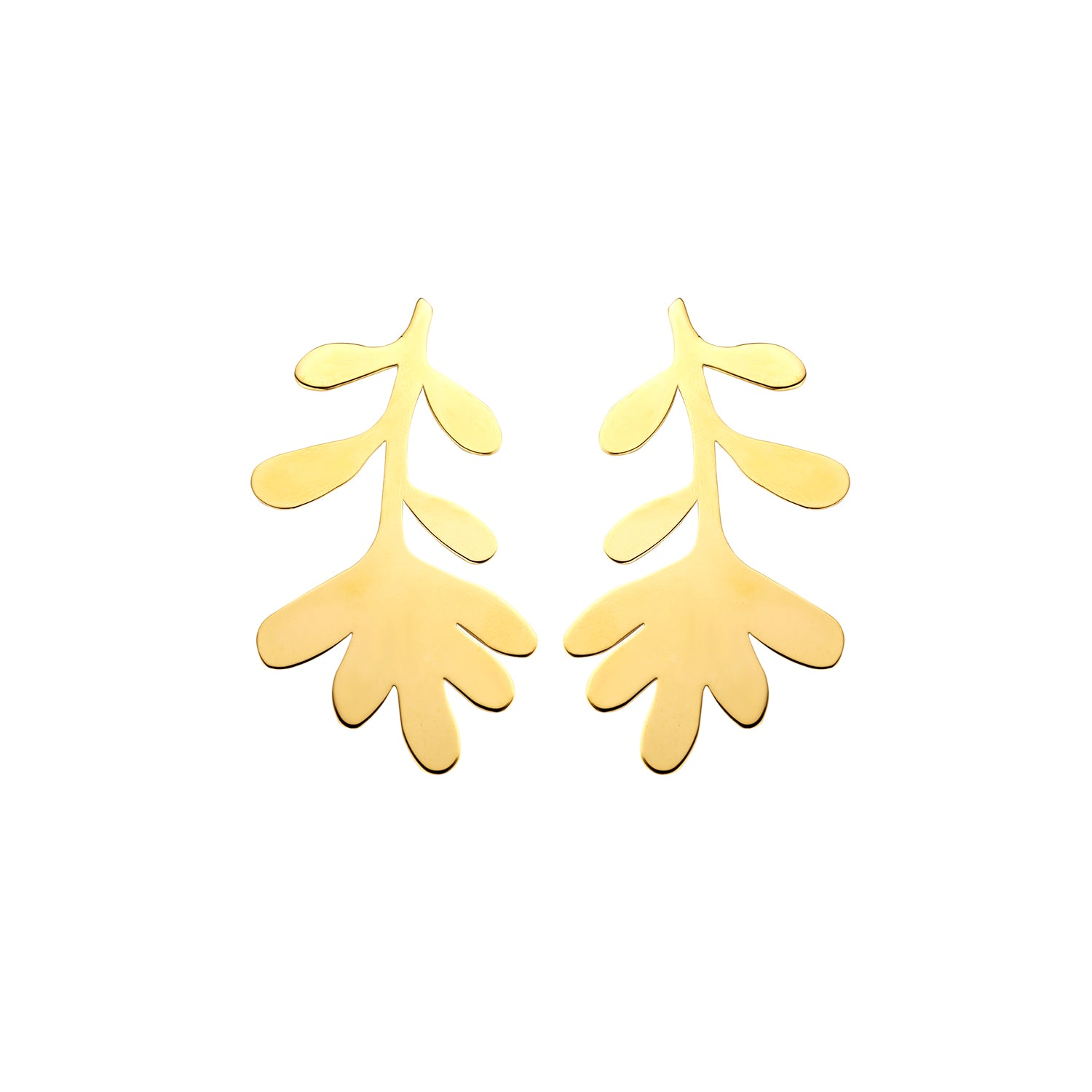 Coral large gold earrings