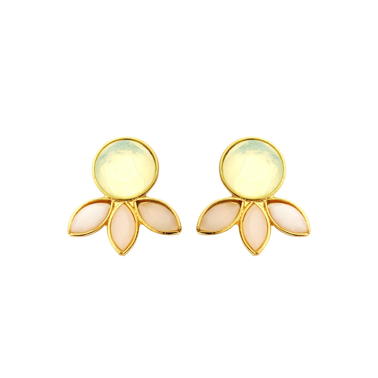 Palm Navet milk white earrings