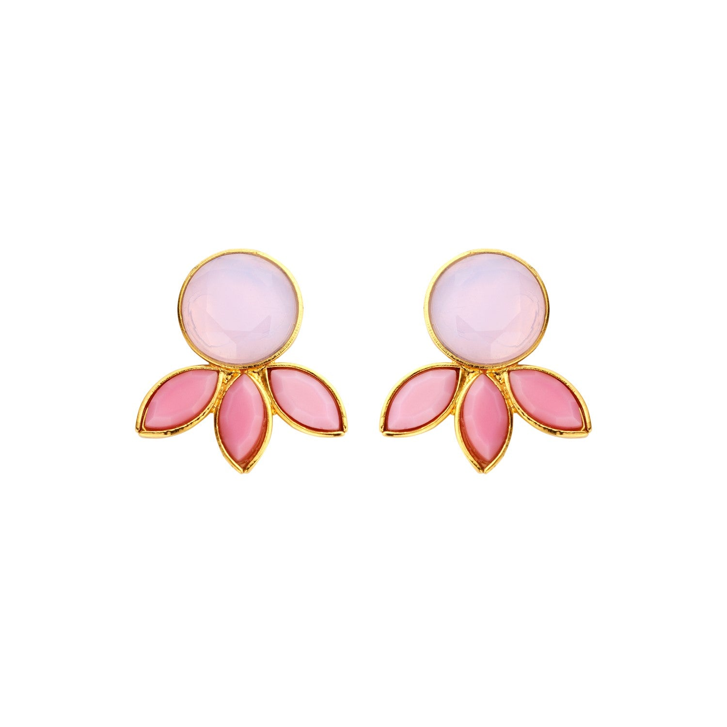 Palm Navet milk rose earrings - Souvenirs de Pomme