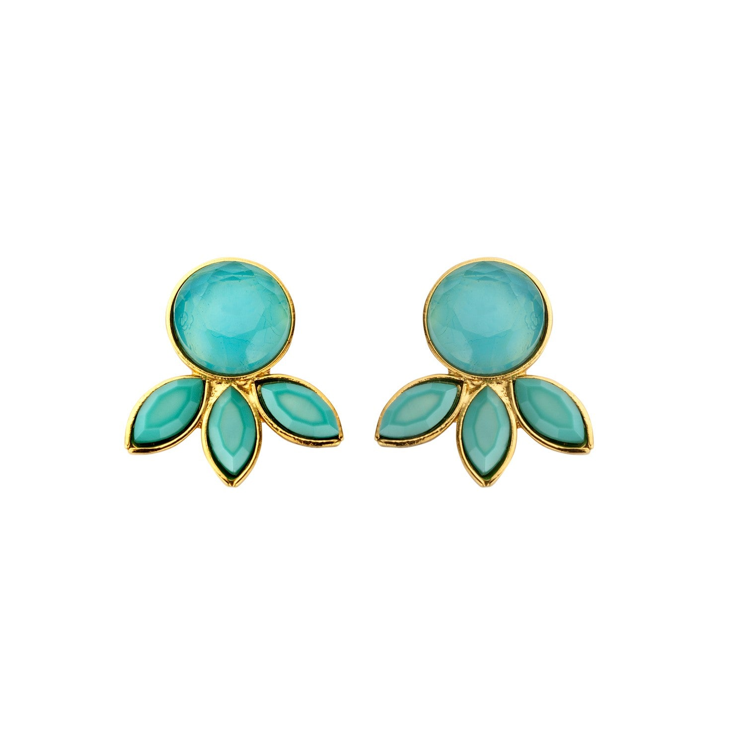 Palm Navet milk blue earrings - Souvenirs de Pomme