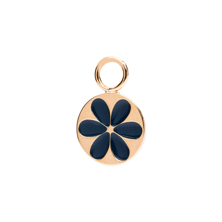 Charm enamel flower navy blue