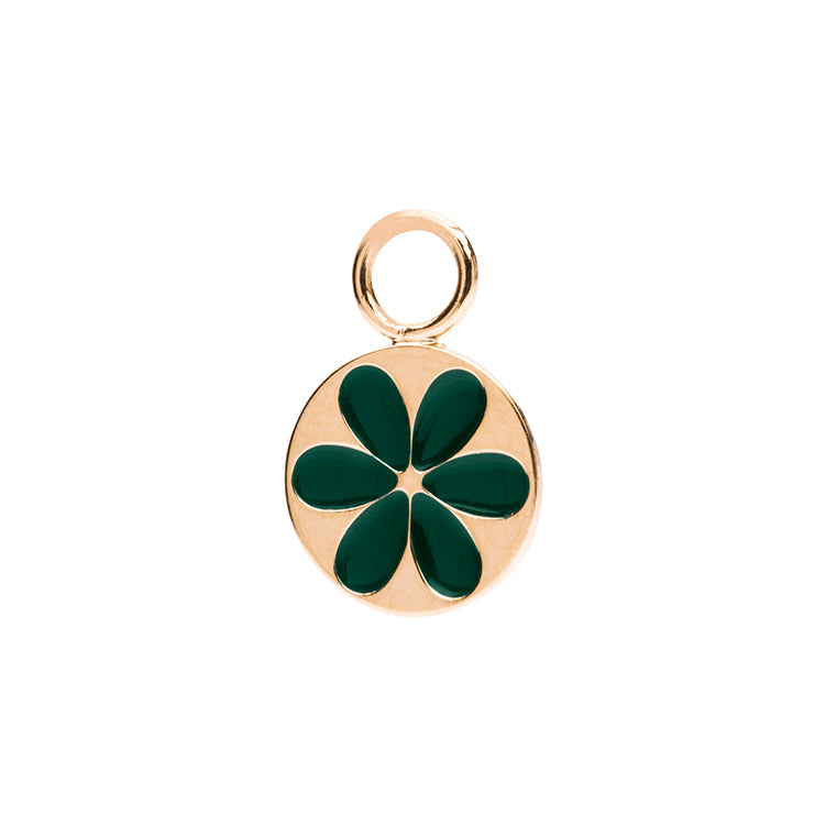 Charm enamel flower green