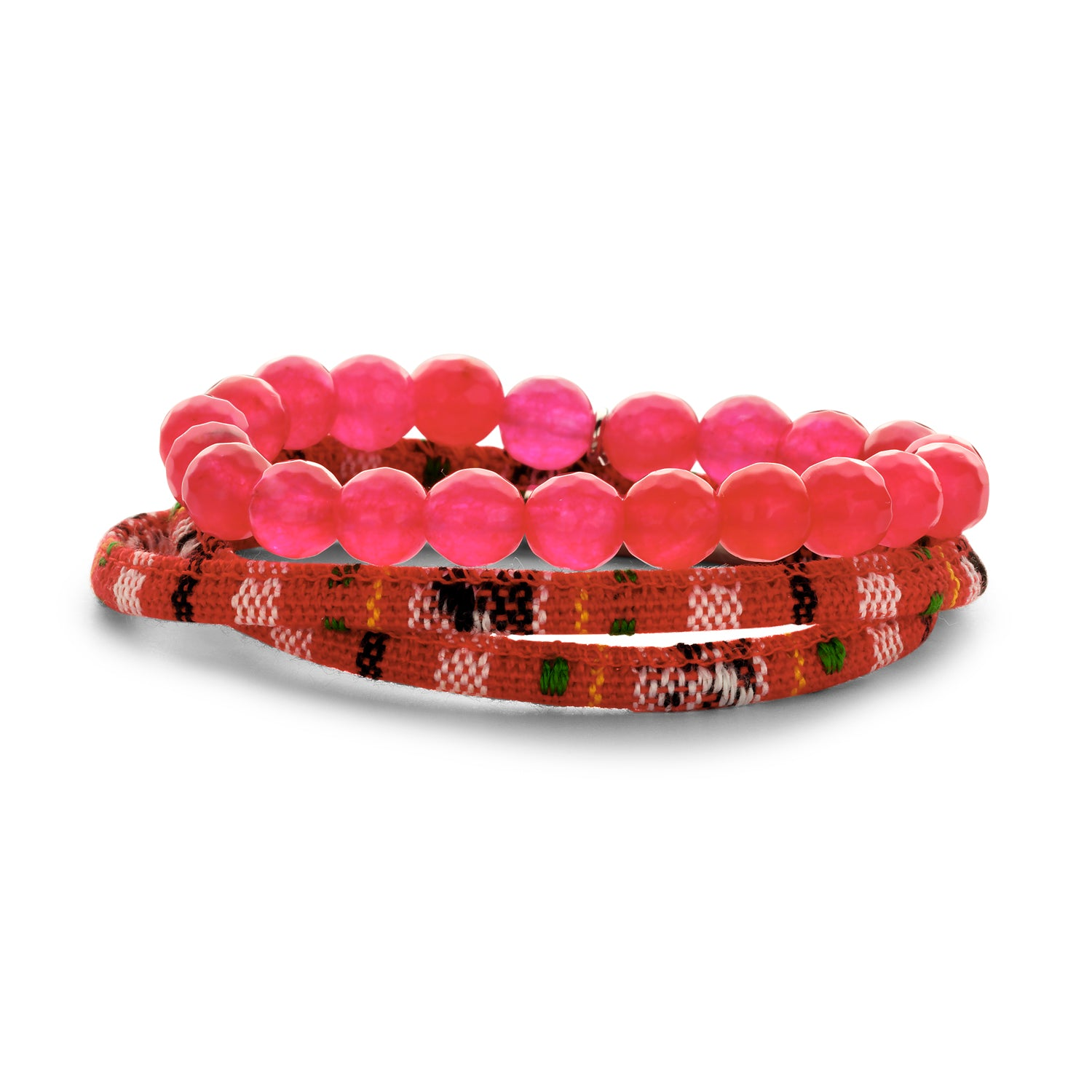 Set Peru Friendship bracelet fuchsia