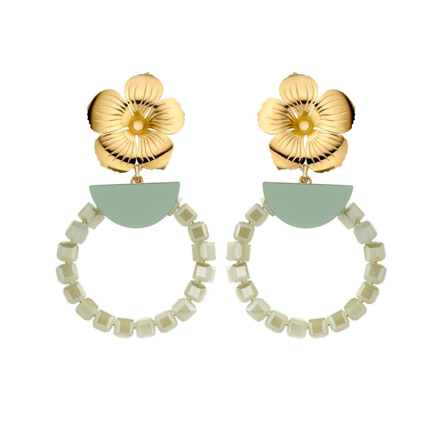 Floral mint earrings - Souvenirs de Pomme